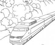 Coloriage Train moyen de transport publique