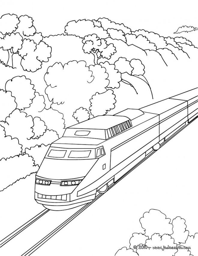 Coloriage Train Moyen De Transport Publique Dessin Gratuit A Imprimer