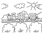 Coloriage Train passe par La Campagne