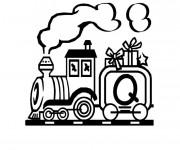Coloriage Train portant des cadeaux