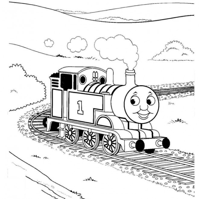 Coloriage Train Qui Sourit Dessin Gratuit à Imprimer