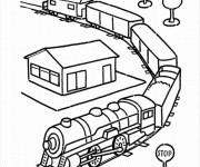 Coloriage Train roule  par la campagne