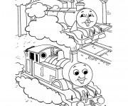 Coloriage Trains dans le terminal dessin animé