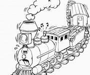 Coloriage Un Train humoristique