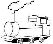 Coloriage Une vue de face de Train à vapeur