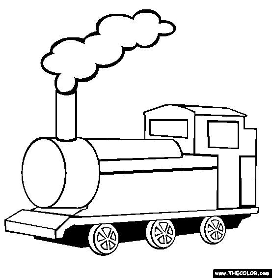 Coloriage Une Vue De Face De Train A Vapeur