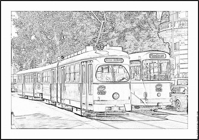 Coloriage tramway 17 dessin gratuit imprimer - Dessin tramway ...