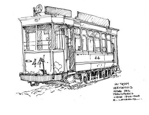 Coloriage tramway ancien dessin gratuit imprimer - Dessin tramway ...