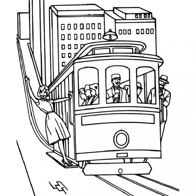 Coloriage et dessins gratuits Tramway dans la ville à imprimer