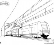 Coloriage Tramway duplex moderne