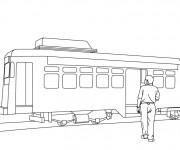 Coloriage et dessins gratuit Tramway et passager à imprimer