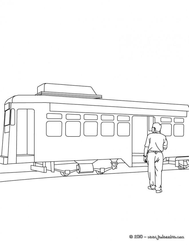 Coloriage et dessins gratuits Tramway et passager à imprimer