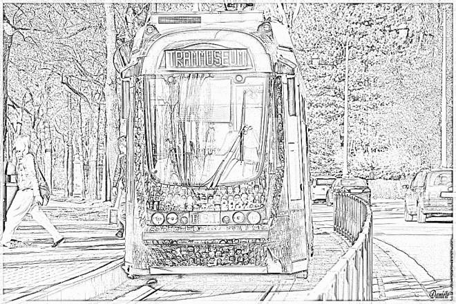 Coloriage et dessins gratuits Tramway réaliste à imprimer