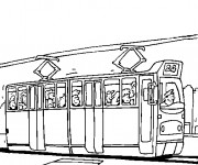 Coloriage Tramway transporte les passagers