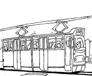 Coloriage et dessins gratuit Tramway transporte les passagers à imprimer