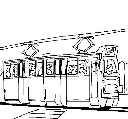 Coloriage et dessins gratuits Tramway transporte les passagers à imprimer