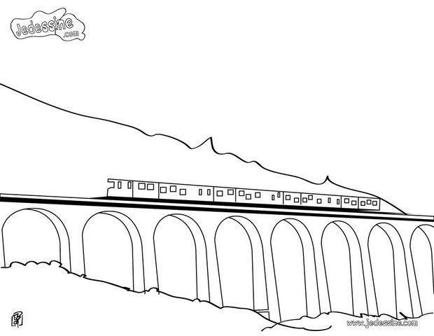 Coloriage un train sur le pont dessin gratuit imprimer - Train en dessin ...
