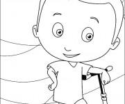 Coloriage Enfant amusé avec sa Trottinette