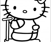 Coloriage Hello Kitty et sa Trottinette