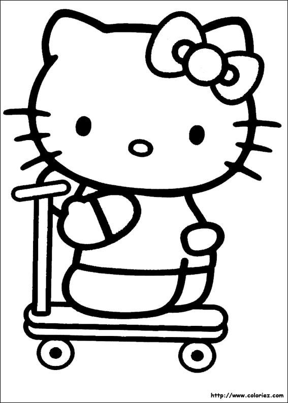 Coloriage et dessins gratuits Hello Kitty et sa Trottinette à imprimer