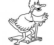 Coloriage et dessins gratuit Le Canard rigolo sur sa Trottinette à imprimer