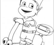 Coloriage et dessins gratuit Petit Garçon sur Scooter jouet à imprimer