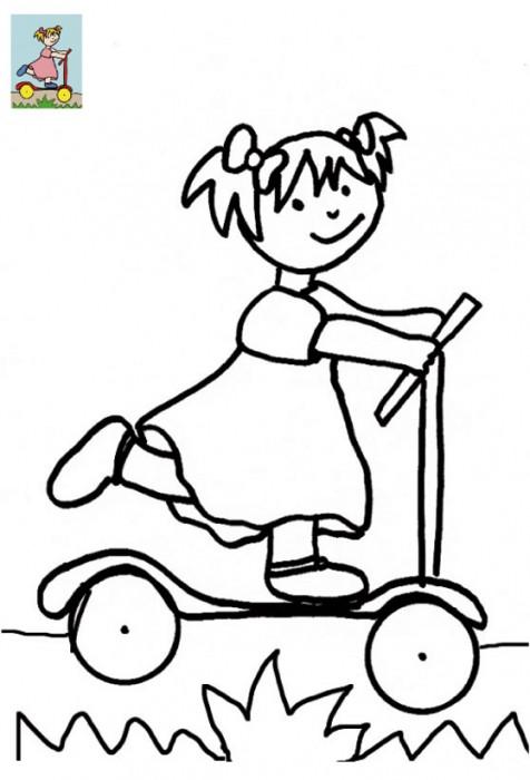 Coloriage et dessins gratuits Petite Fille sur La Trottinette à imprimer