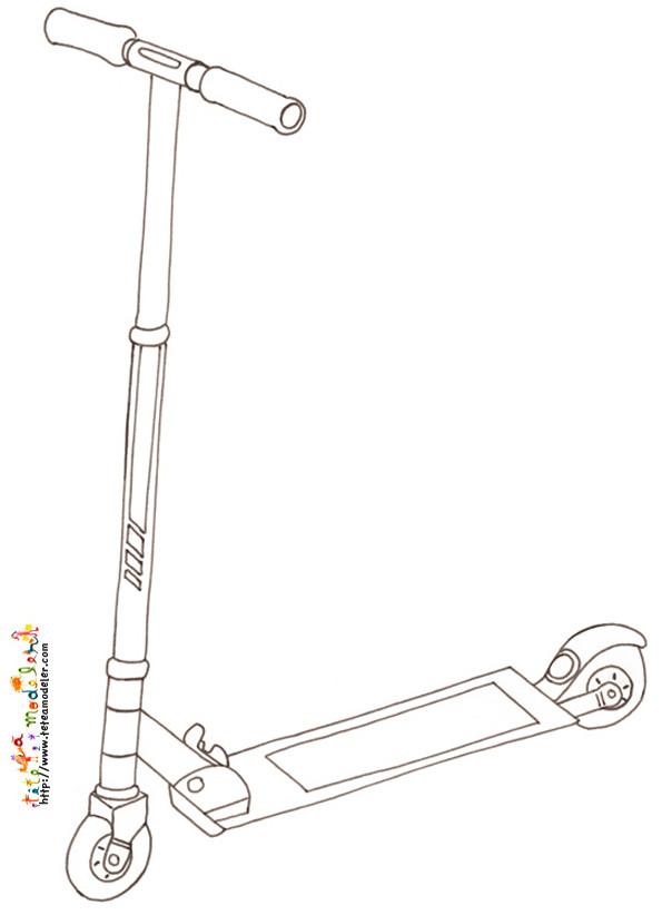Coloriage et dessins gratuits Trottinette au crayon à imprimer
