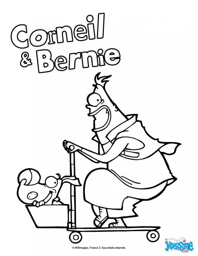 Coloriage et dessins gratuits Trottinette Corneil et Bernie à imprimer