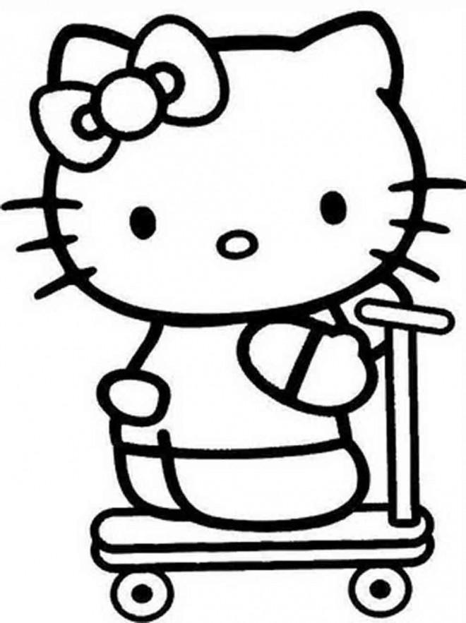 Coloriage et dessins gratuits Trottinette de Hello Kitty à imprimer