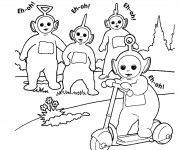 Coloriage Trottinette dessin animé à découper