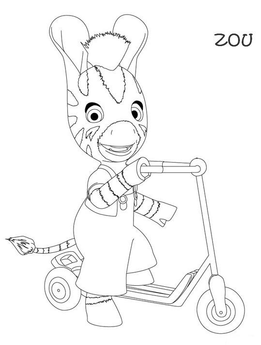 Coloriage et dessins gratuits Zou et sa Trottinette à imprimer
