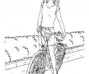 Coloriage Barbie sur son Vélo