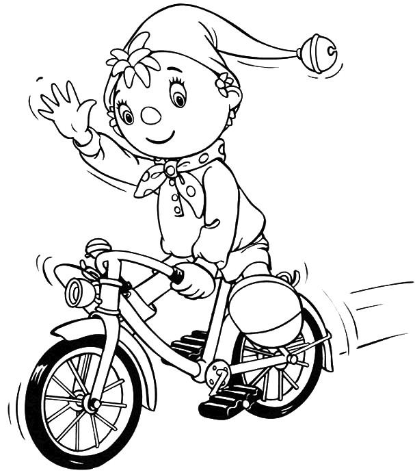 Coloriage et dessins gratuits Cycliste mignon dessin animé à imprimer