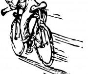 Coloriage cycliste pro en course