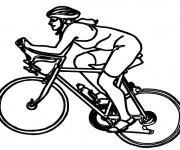 Coloriage et dessins gratuit Cycliste sur VTT à imprimer