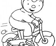 Coloriage et dessins gratuit Dessin Tchoupi vélo à imprimer