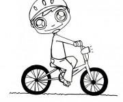 Coloriage Enfant sur son Vélo Kawaii