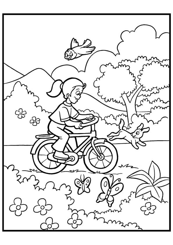 Coloriage et dessins gratuits Fille s'amuse sur son Vélo  dans la nature à imprimer