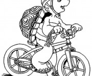 Coloriage La tortue sur sa Bicyclette