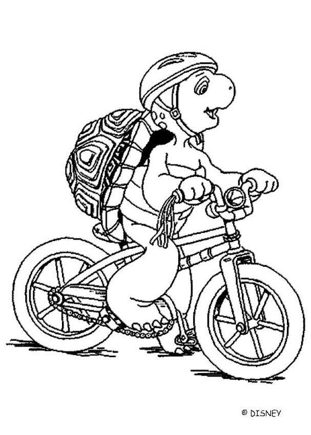 Coloriage et dessins gratuits La tortue sur sa Bicyclette à imprimer