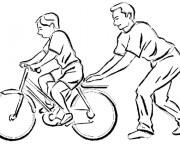Coloriage Le père Apprend à faire du vélo à son enfant