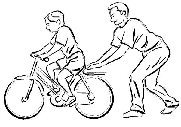Coloriage et dessins gratuits Le père Apprend à faire du vélo à son enfant à imprimer