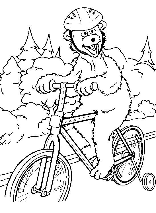 Coloriage et dessins gratuits Ours rigolo sur son Vélo à imprimer