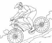 Coloriage et dessins gratuit Un cycliste dans la Montagne à imprimer
