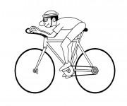 Coloriage Un cycliste en course