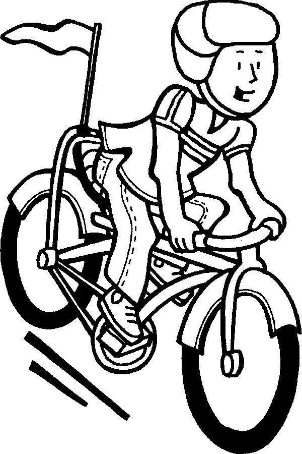 Coloriage et dessins gratuits Un cycliste sur son Vélo à imprimer