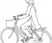 Coloriage Une fille sur sa Bicyclette