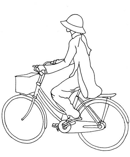 Coloriage et dessins gratuits Une fille sur sa Bicyclette à imprimer