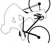 Coloriage Vélo et cycliste professionnel